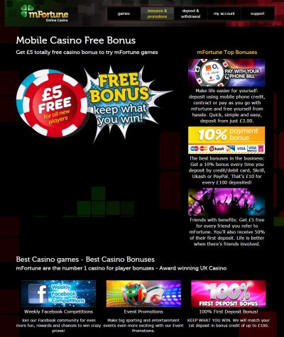 £10 No Deposit Bonus at mFortune